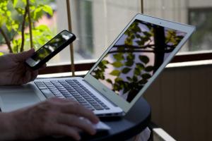 Laptop mit Natur