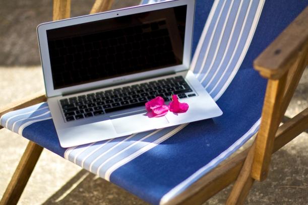 Laptop in the sun
