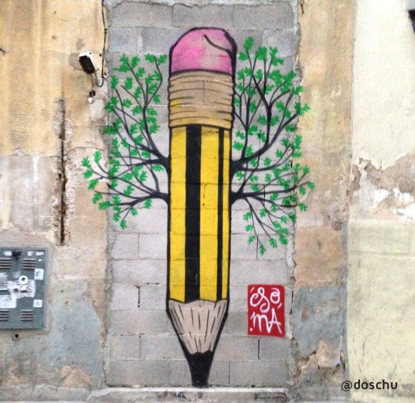 streetart pencil palma de mallorca
